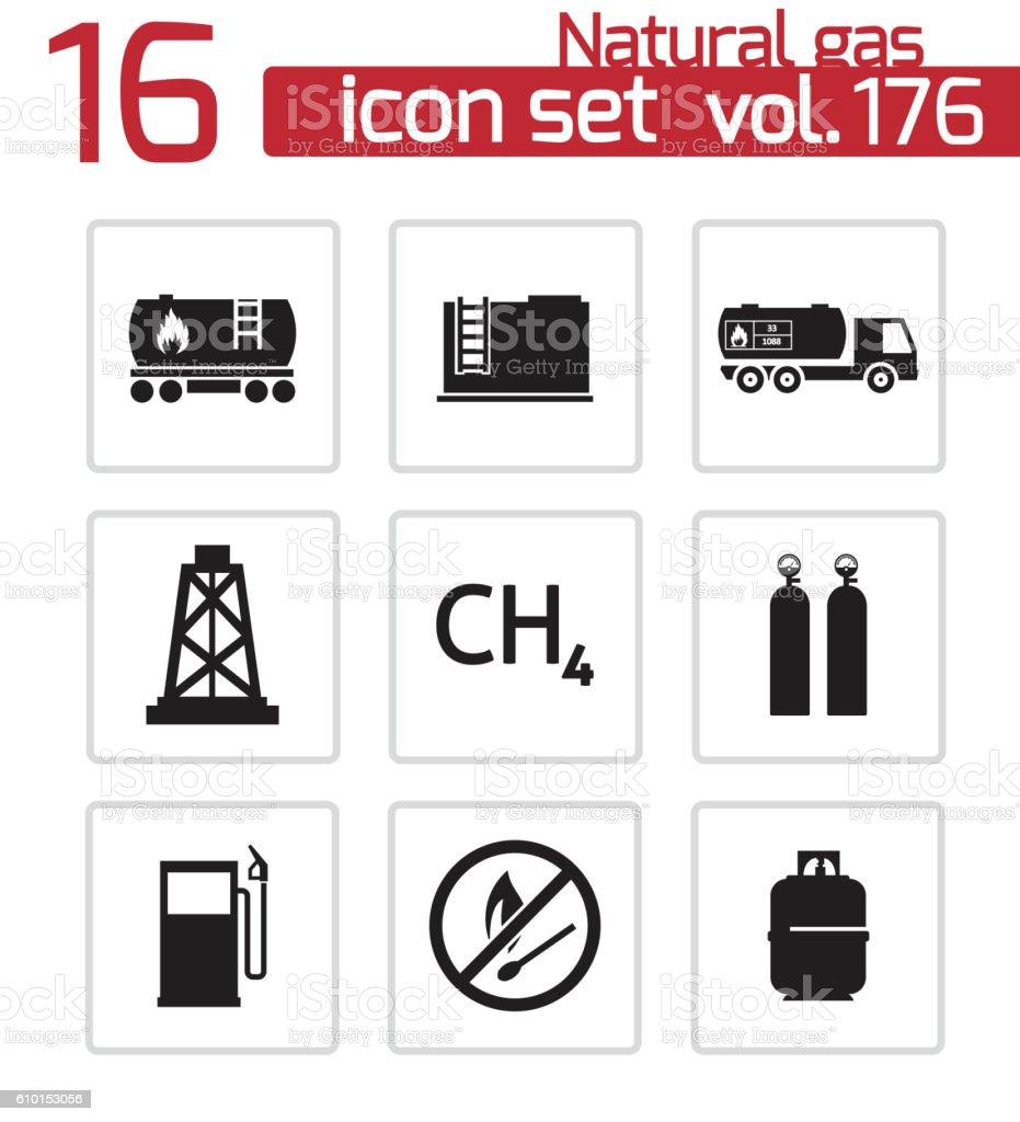 Vector black natural gas icons set vector art illustration