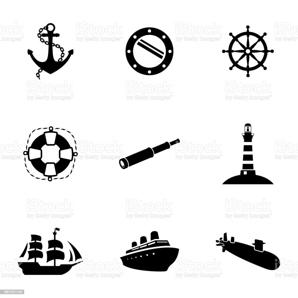 Vector black nautical icons set vector art illustration