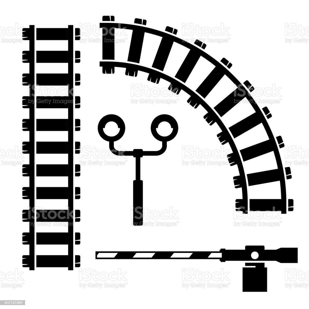 Vector black  objects for rail road icons set vector art illustration