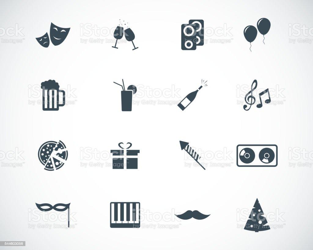 Vector black  party icons set vector art illustration