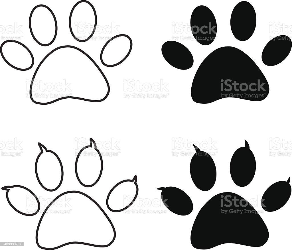 Vector - Black paw print vector art illustration