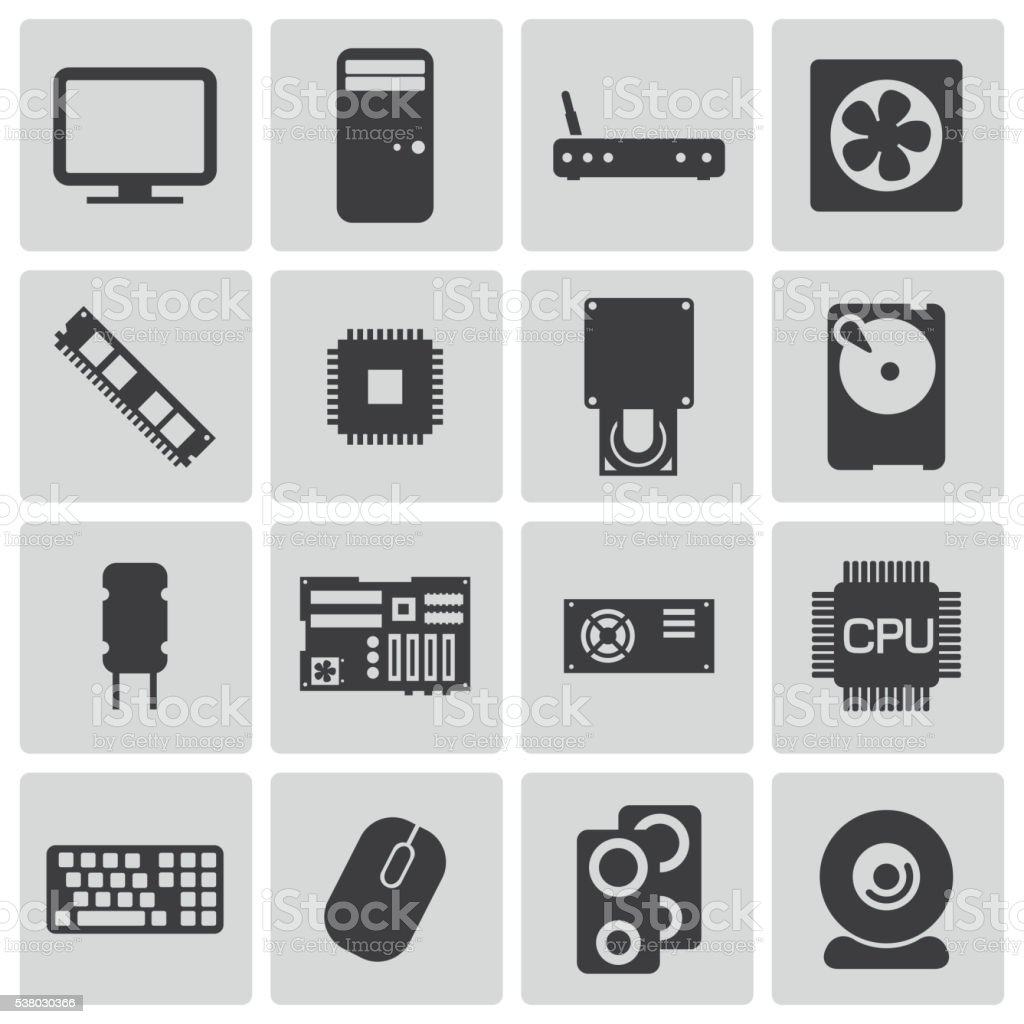 Vector Black  PC Components Icons Set vector art illustration
