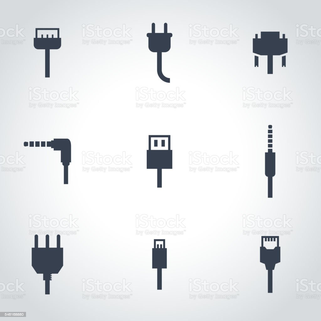 Vector black plug icon set vector art illustration