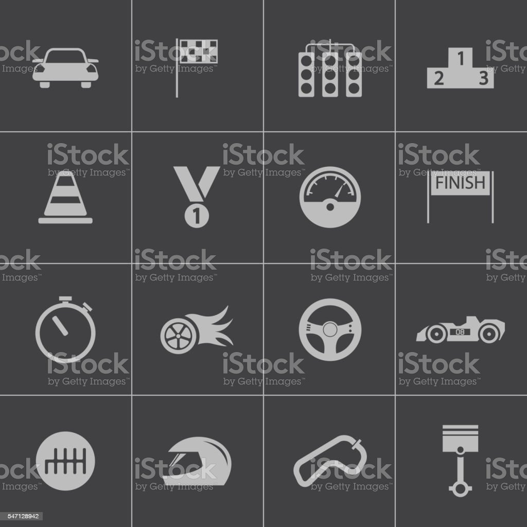 Vector black  racing icons set vector art illustration