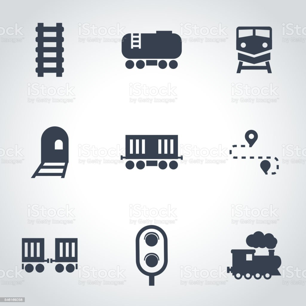 Vector black railroad icon set vector art illustration