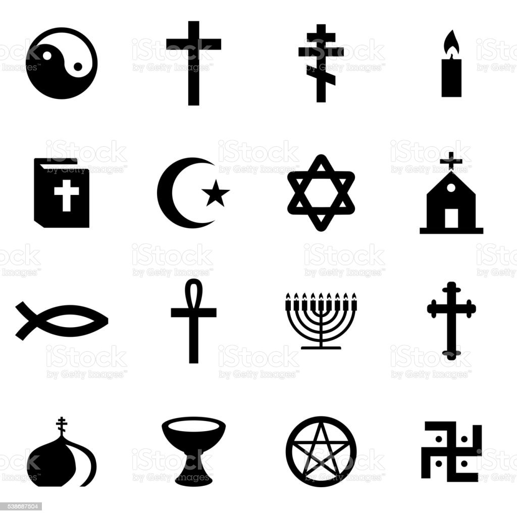 Vector black religion icon set vector art illustration