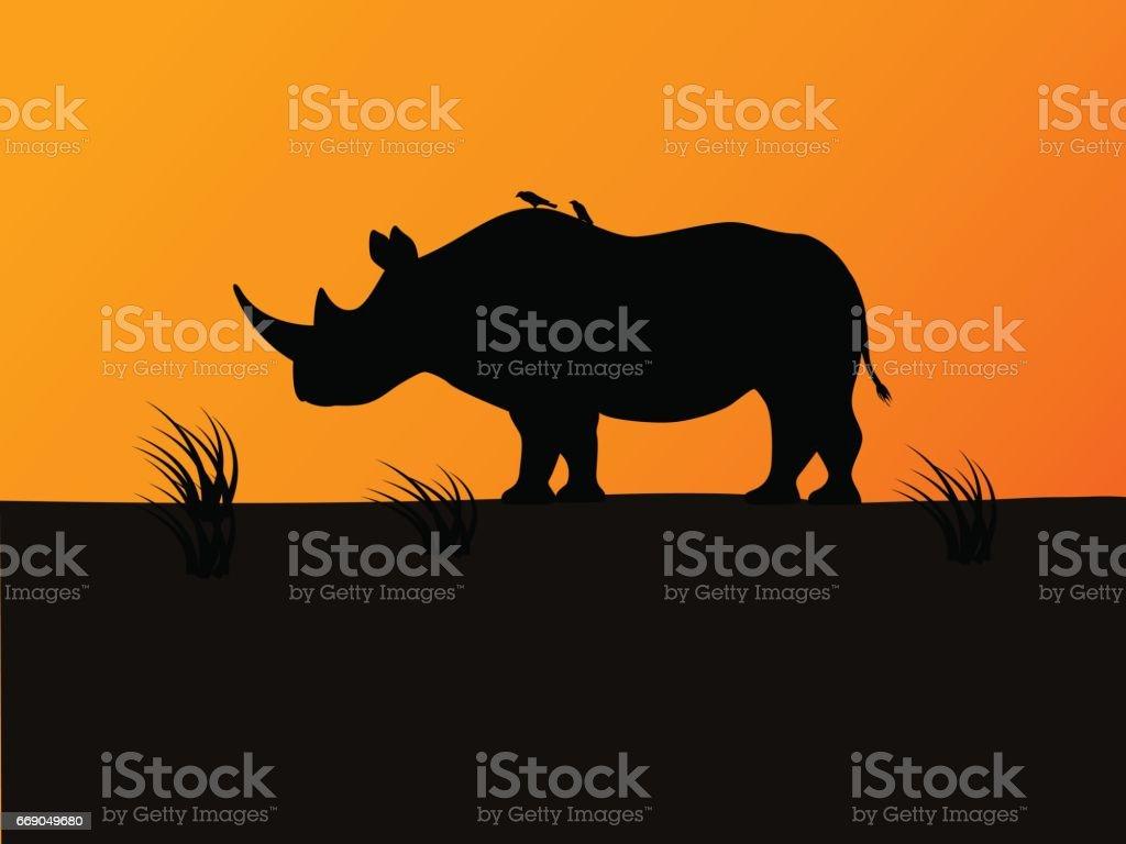 Vector black rhino silhouette background sunset vector art illustration