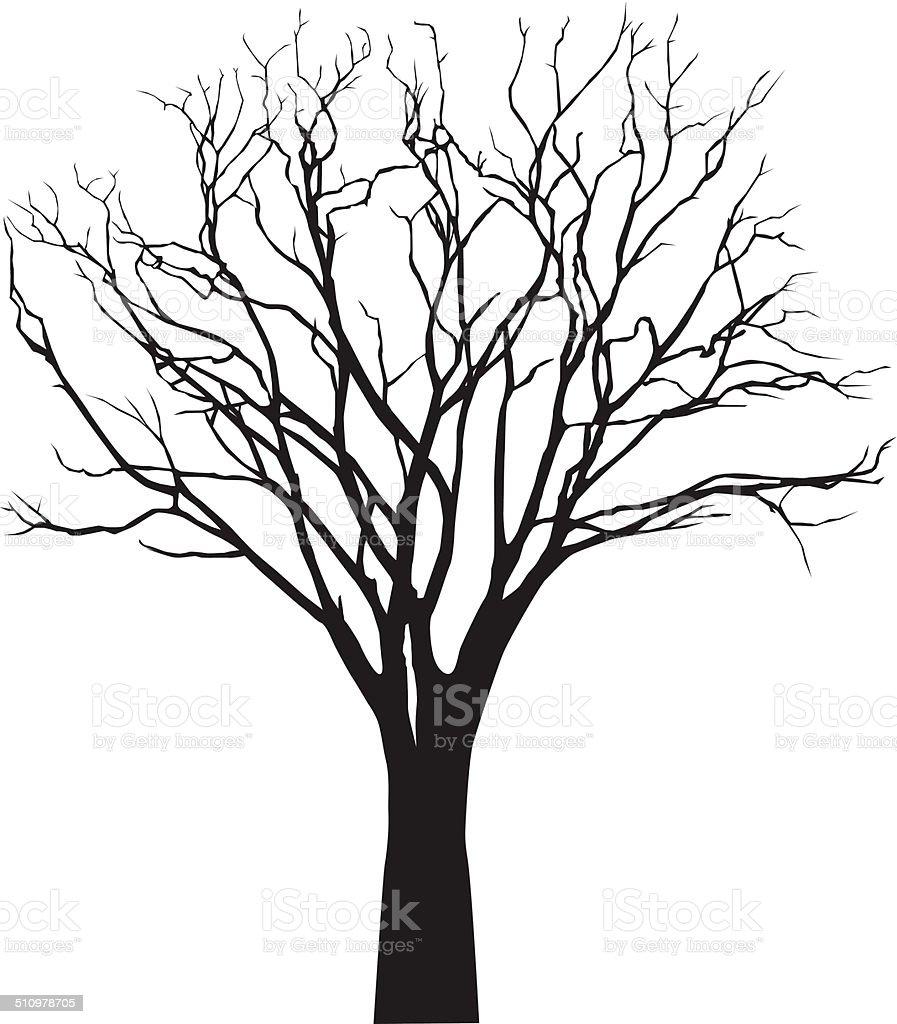 vector black silhouette of a bare tree vector art illustration