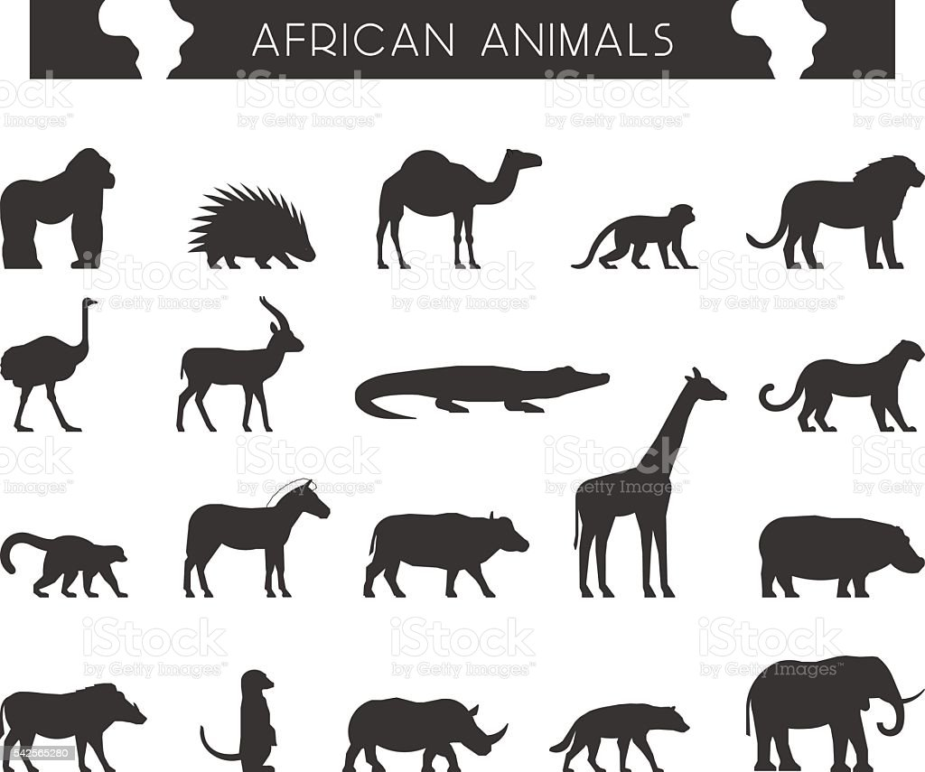 Vector black silhouettes of African animals. vector art illustration