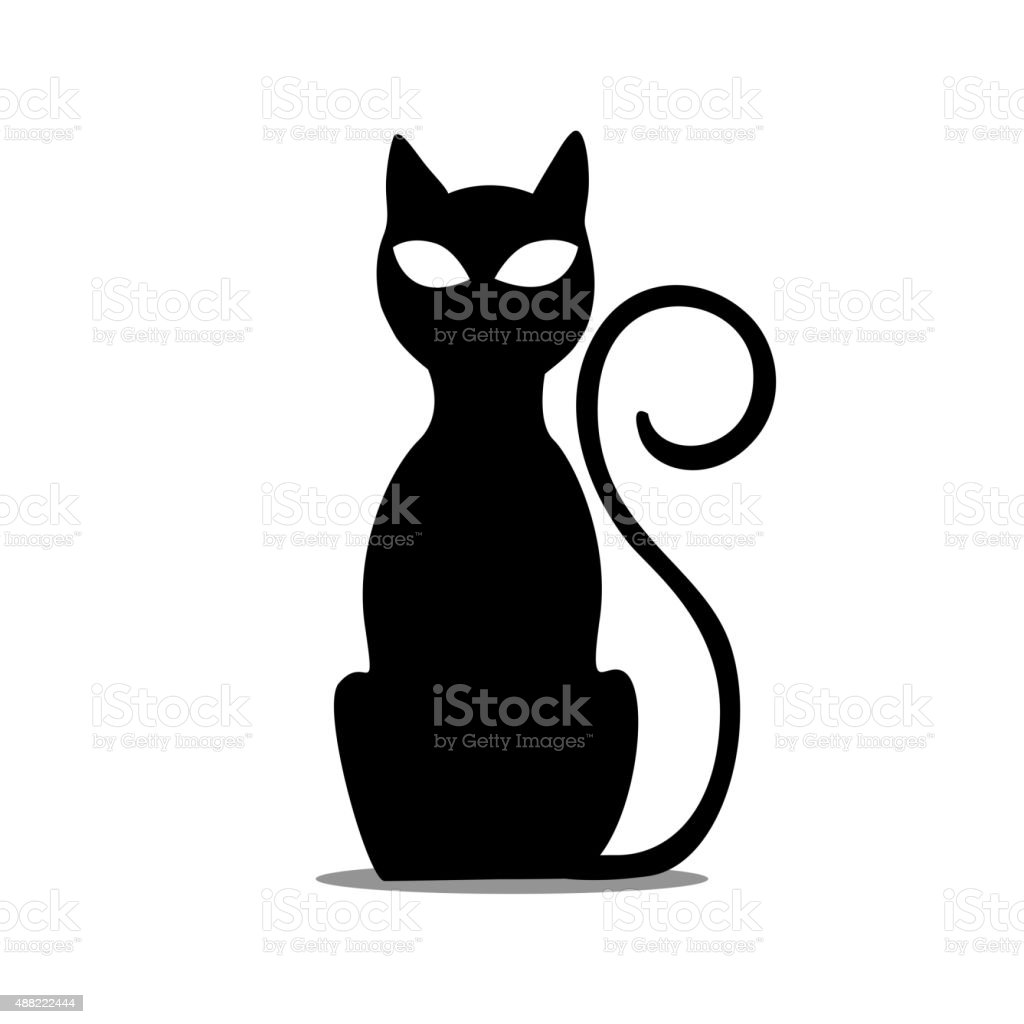 Vector Black Sitting Cat vector art illustration