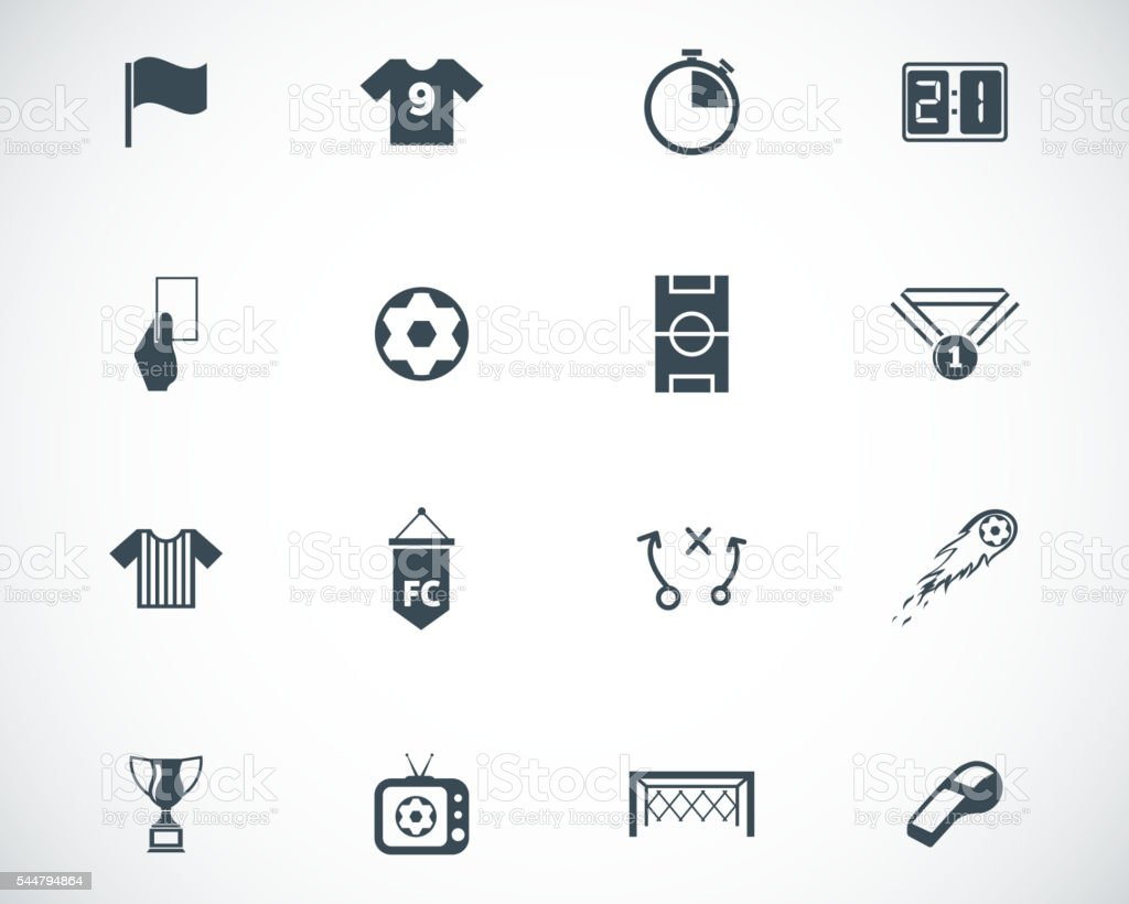 Vector black  soccer  icons set vector art illustration