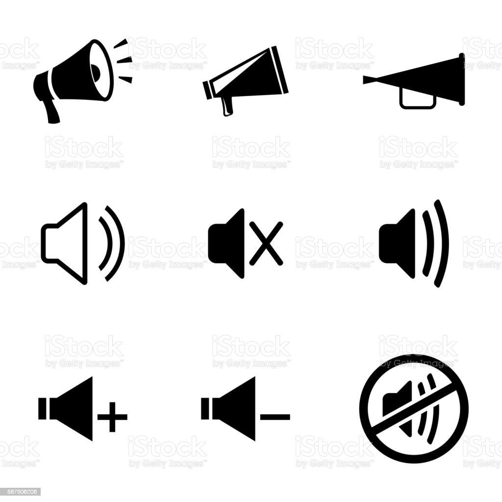 Vector black speaker icons set vector art illustration