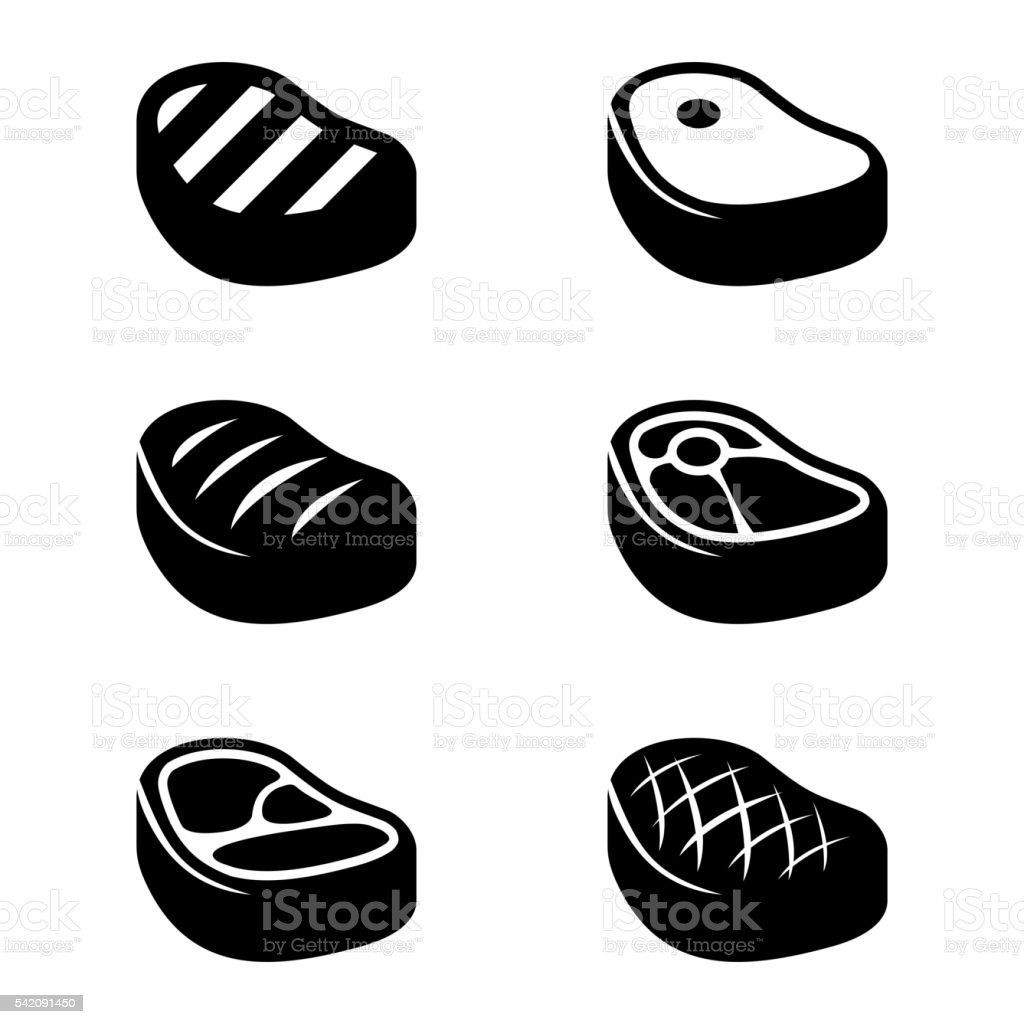 Vector black steak icons set vector art illustration