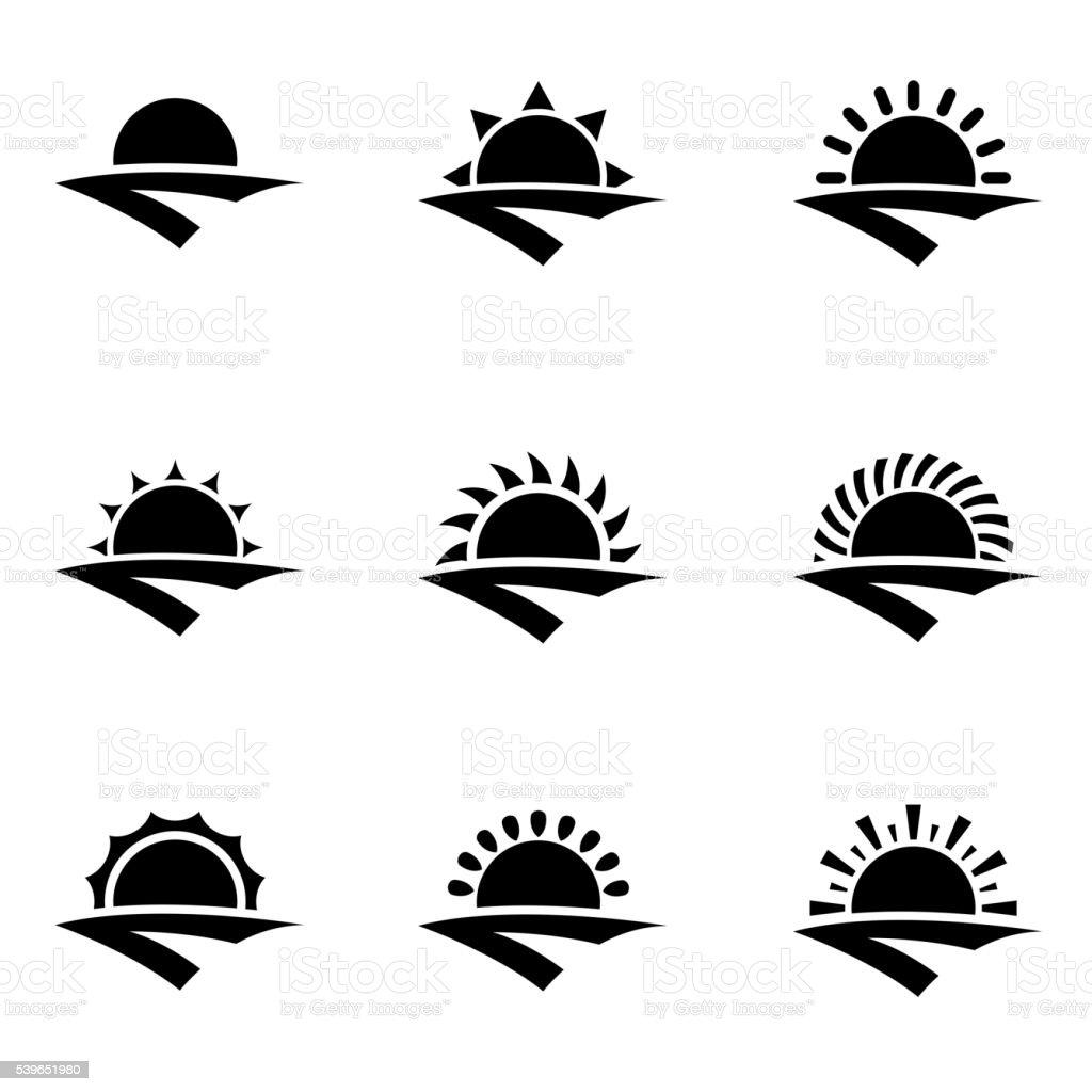 Vector black sunrise icon set vector art illustration