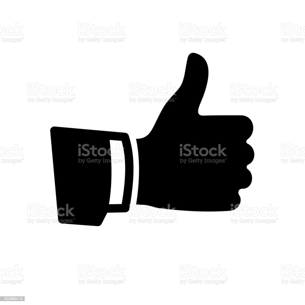 Vector Black Thumb Up Icon vector art illustration