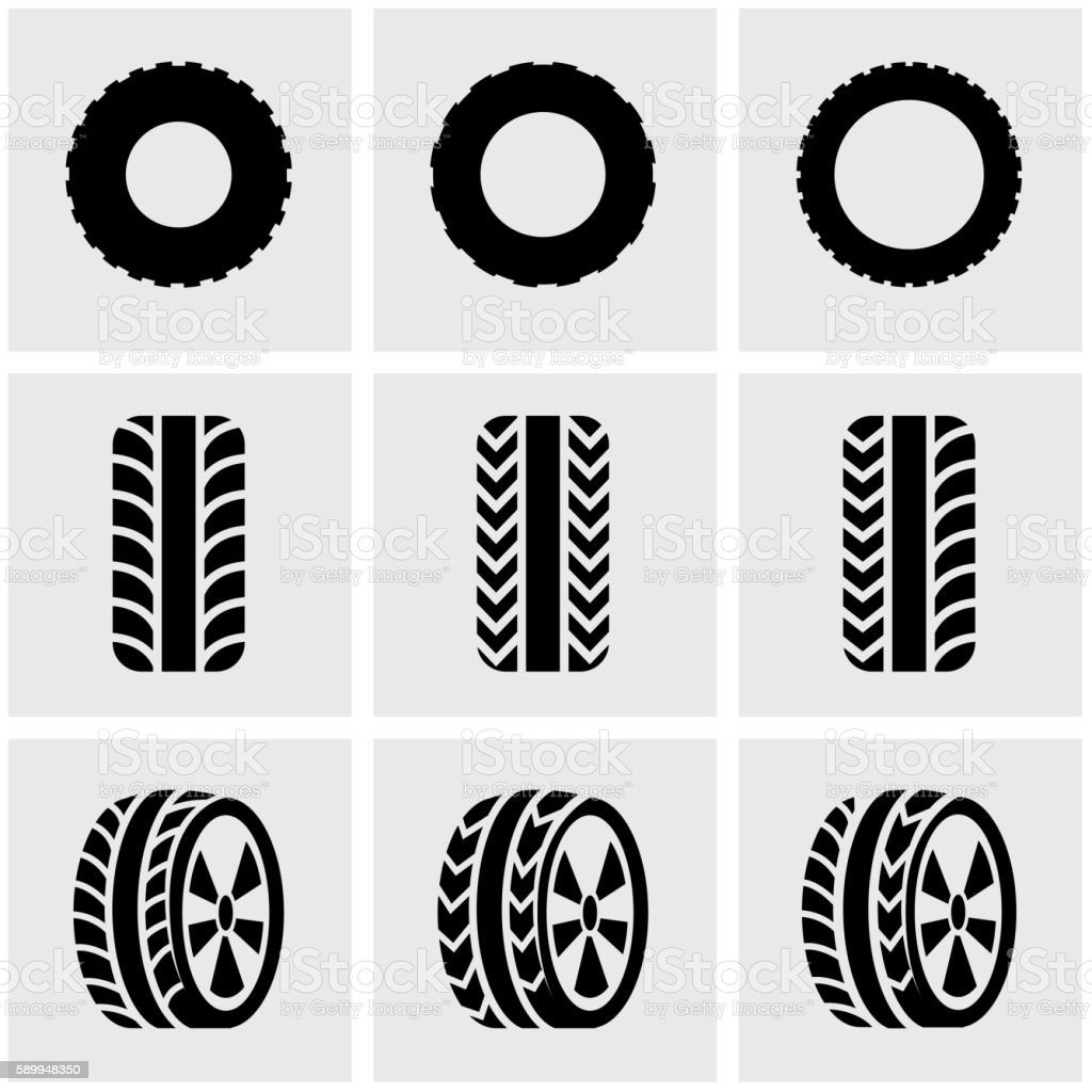 Vector black tire icon set vector art illustration