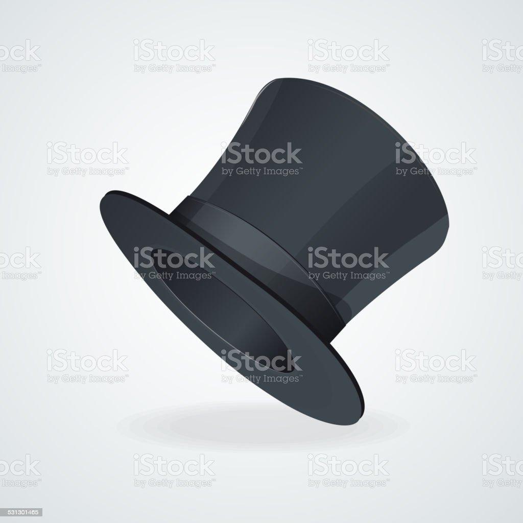 Vector Black top hat on white vector art illustration