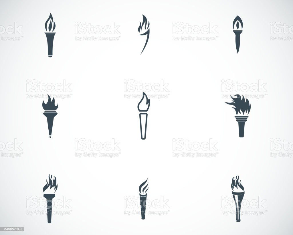 Vector black torch icons set vector art illustration
