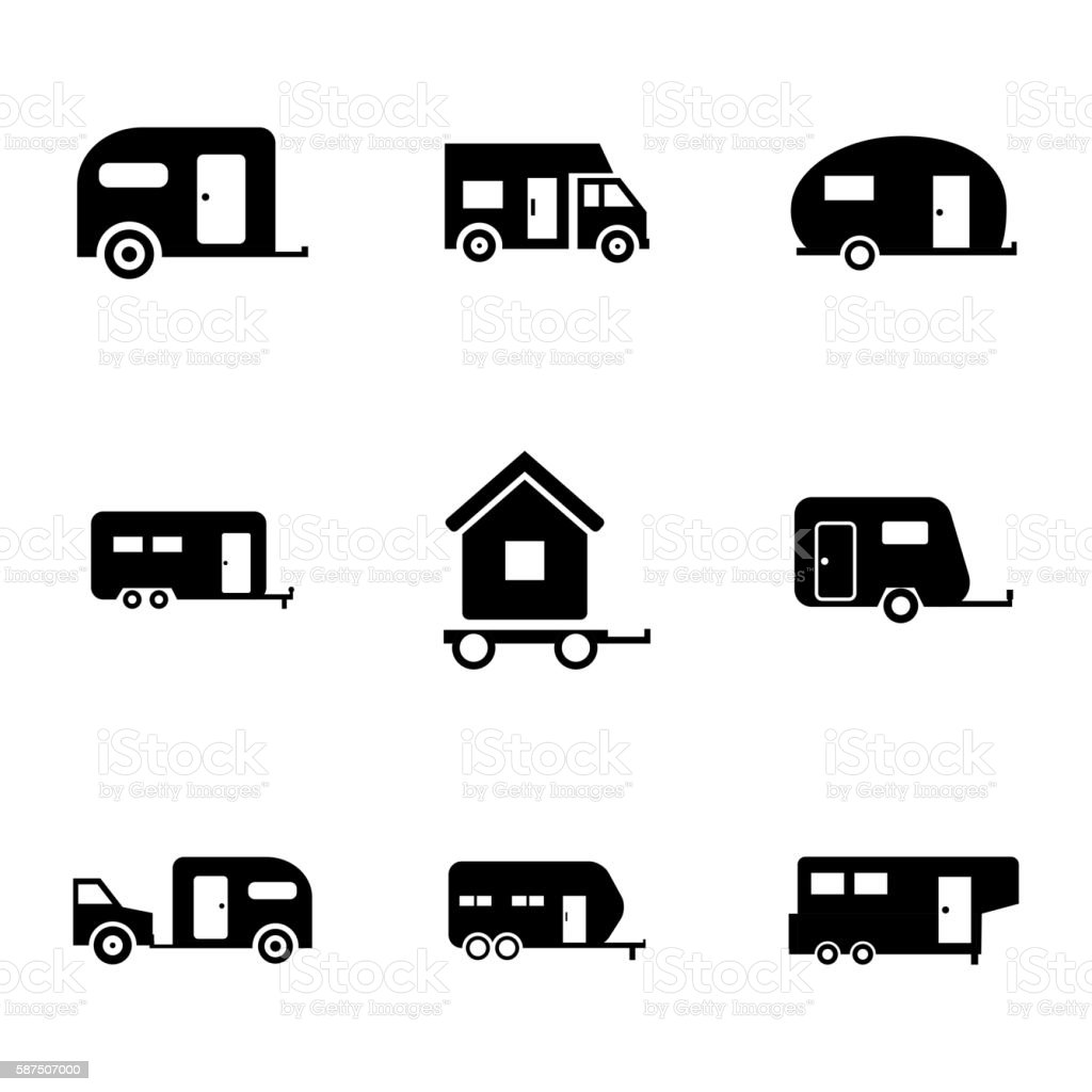 Vector black trailer icons set vector art illustration
