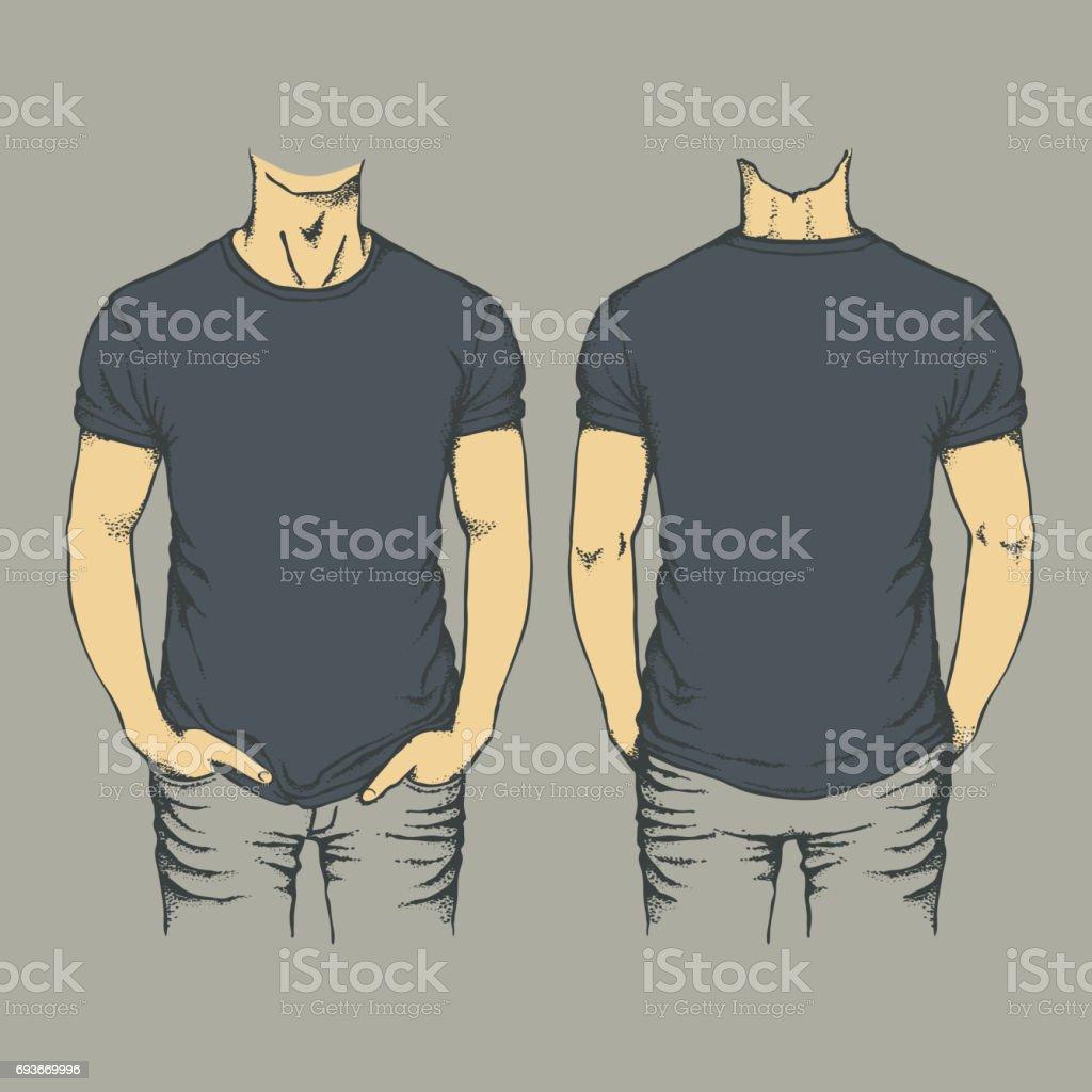 Black t shirt template vector - Vector Black T Shirt Template Royalty Free Stock Vector Art