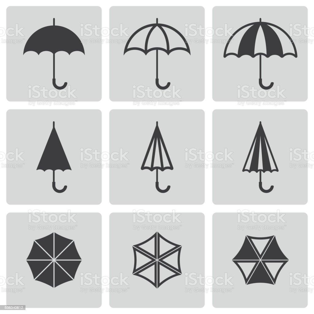 Vector black umbrella icons set vector art illustration