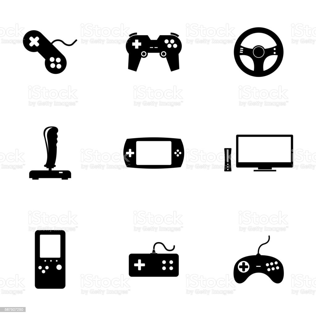 Vector black video game icons set vector art illustration