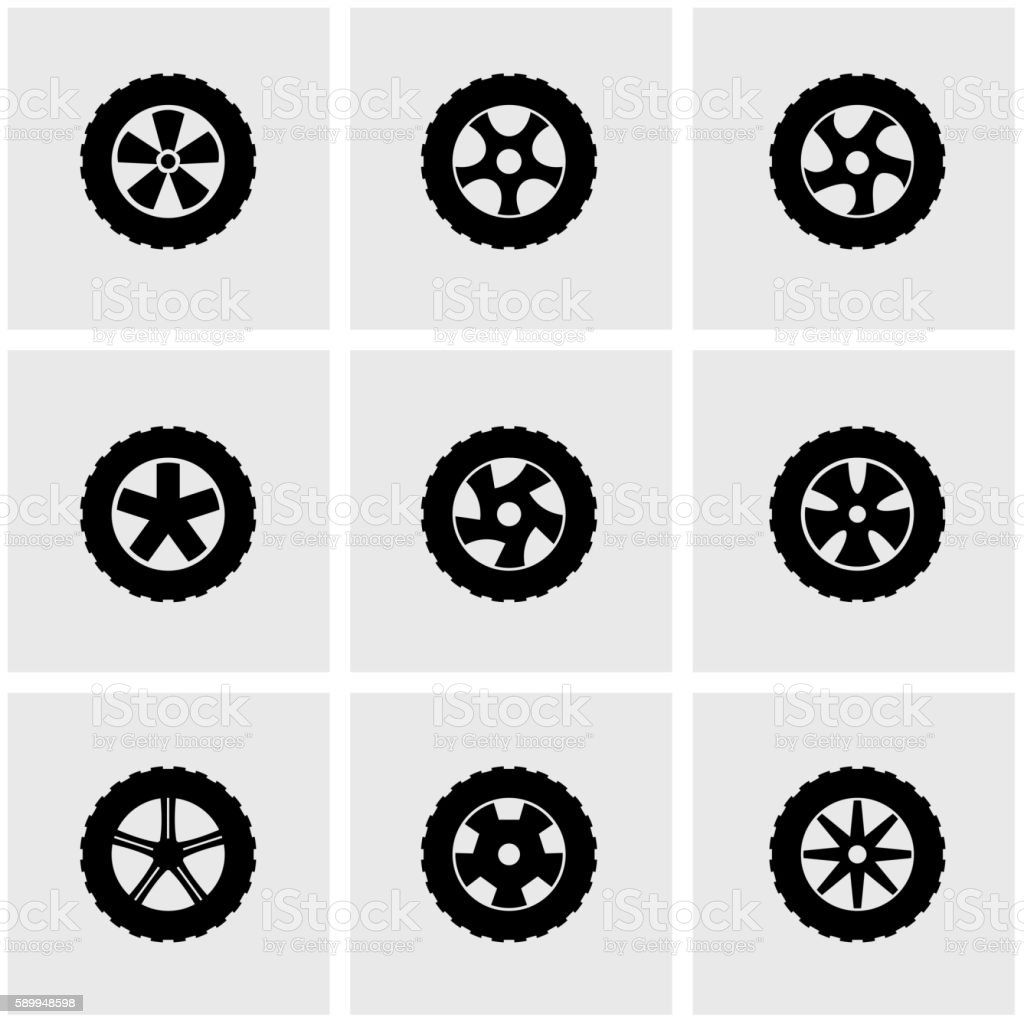Vector black wheel icon set vector art illustration