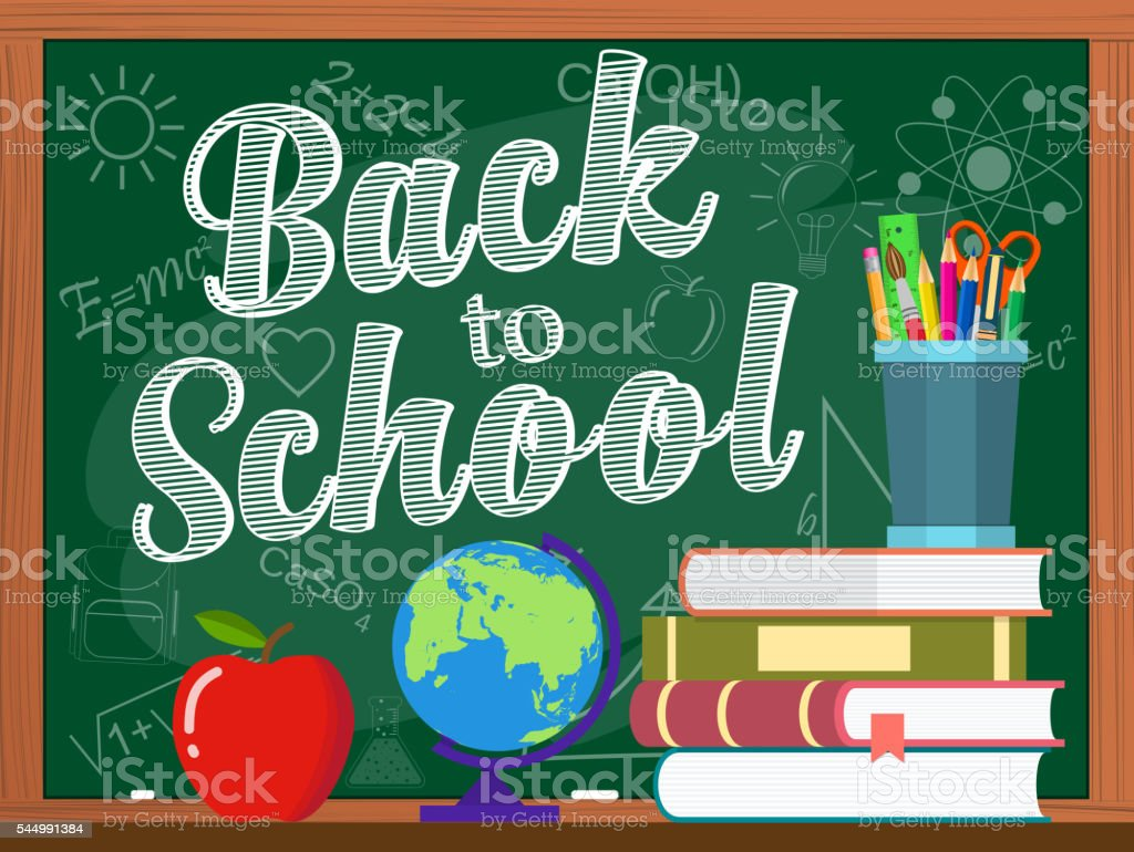 Vector blackboard and back to school concept vector art illustration