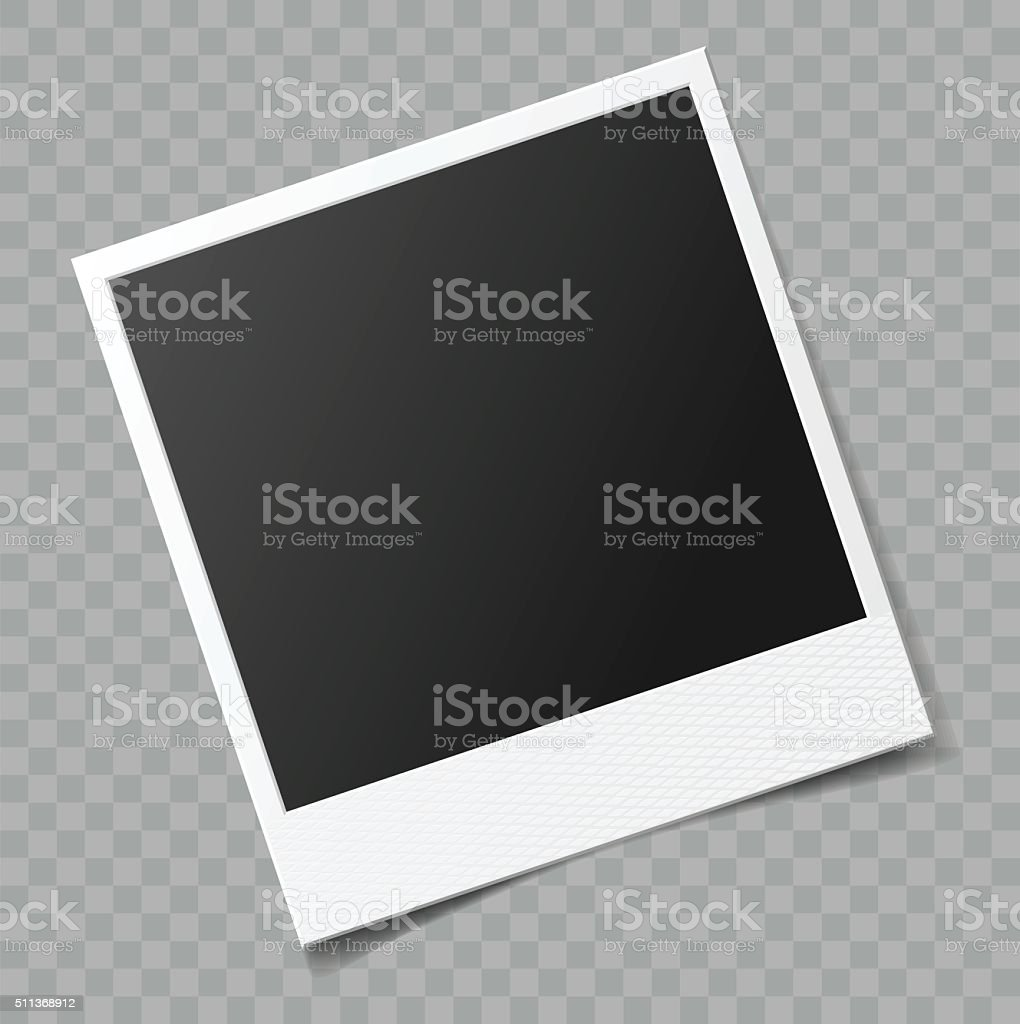 Vector blank photo frame with transparent shadow effect vector art illustration