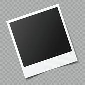 Vector blank photo frame with transparent shadow effect