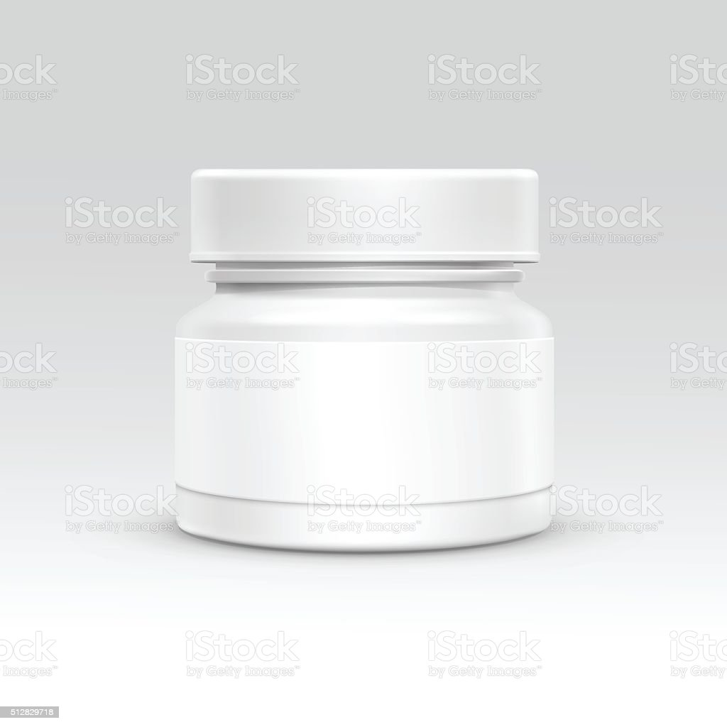 Vector Blank Plastic Packaging Bottle with Cap for Pills Isolated vector art illustration