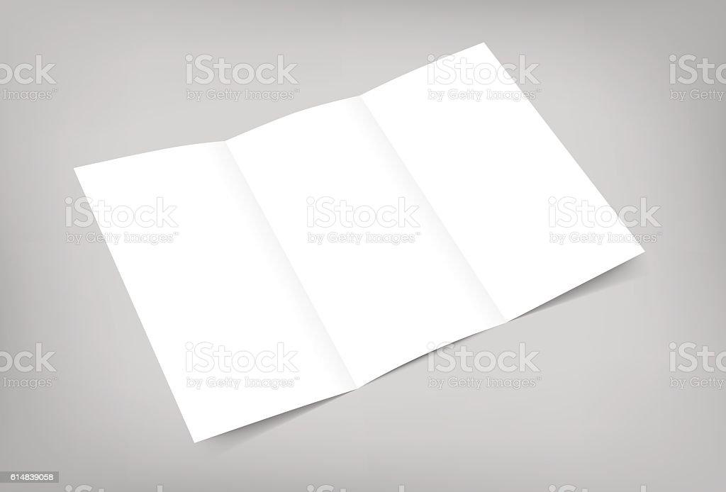 Vector blank tri fold flyer mock up on gray background vector art illustration