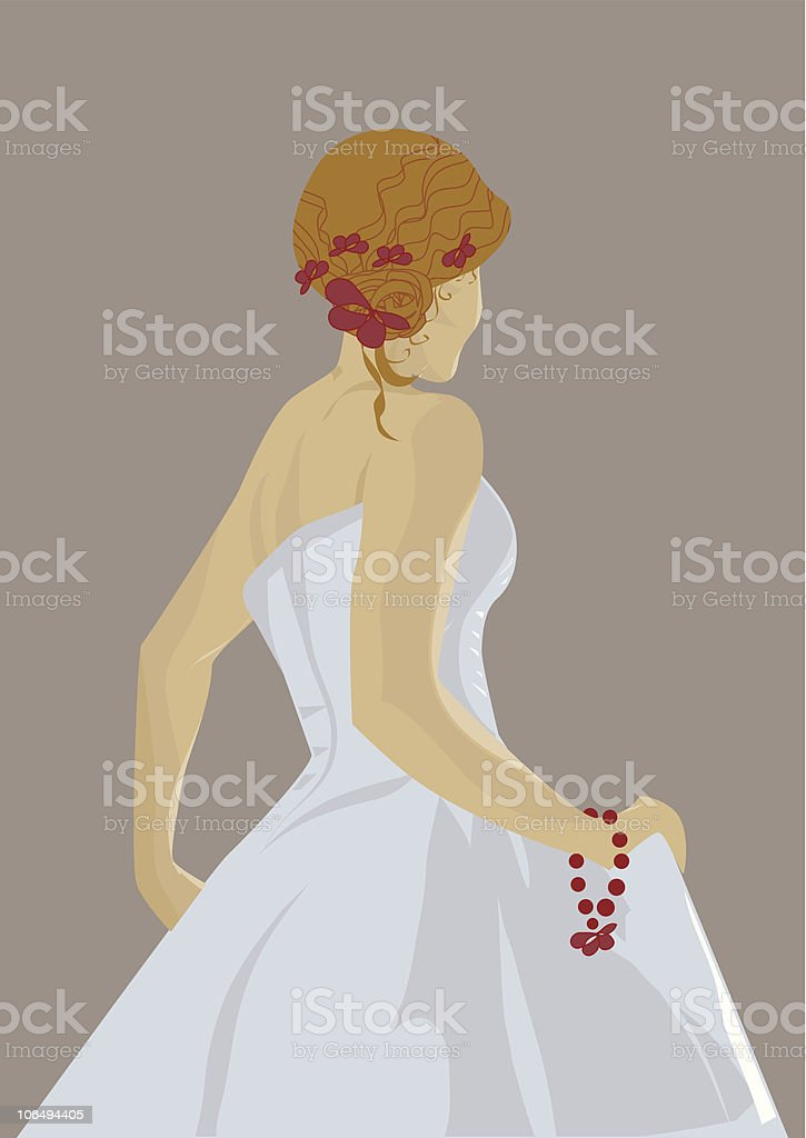 Vector blond bride on pastel background in sleeveless dress royalty-free stock vector art