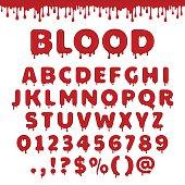 Vector bloody latin alphabet