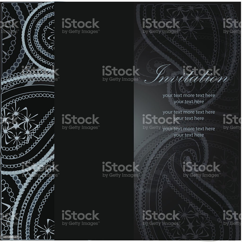 Vector blue and black paisley invitation template royalty-free stock vector art