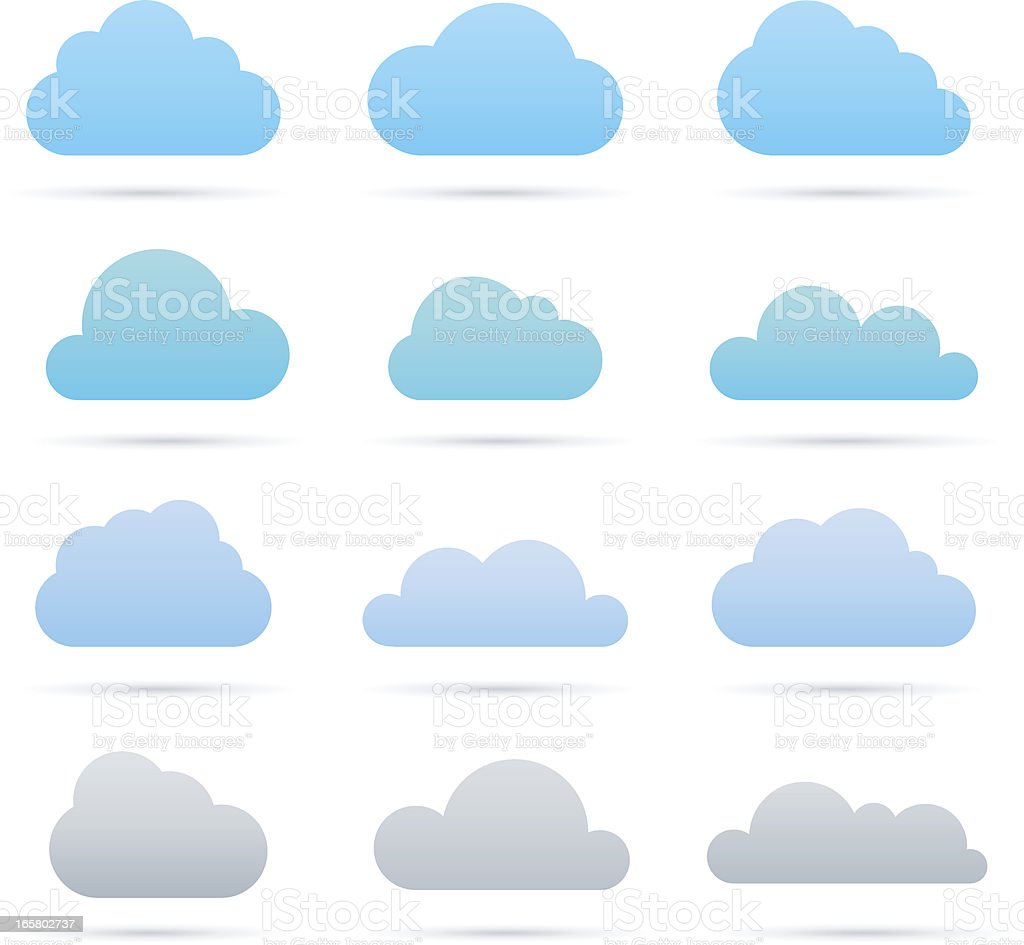 Vector blue and gray cloud icon set vector art illustration