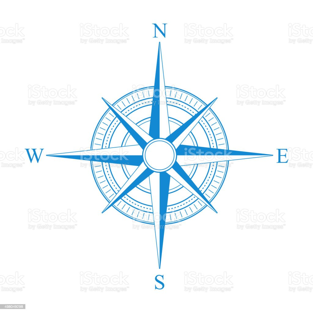 Vector blue compass icon. vector art illustration
