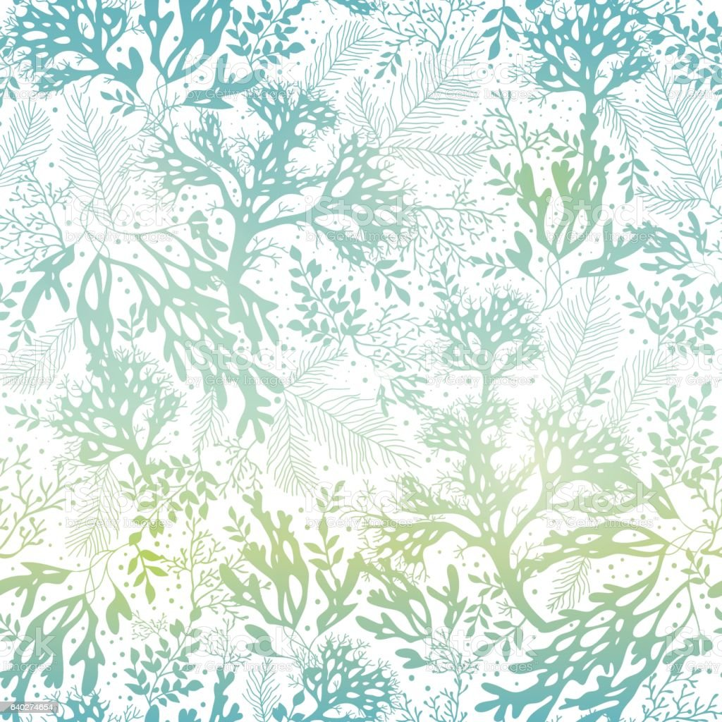 Vector Blue Freen Seaweed Texture Seamless Pattern Background. Great for vector art illustration