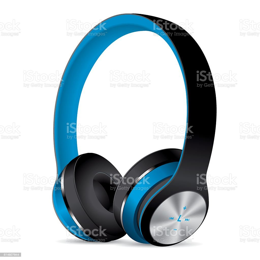 Vector Blue Headphones vector art illustration