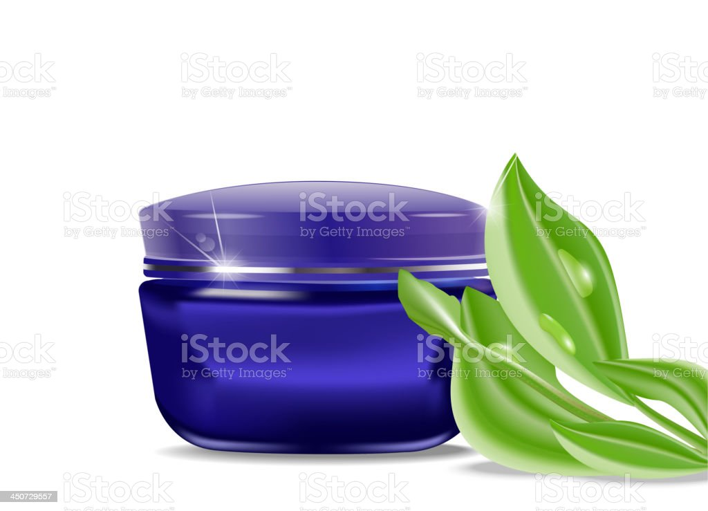 vector blue jar with a cosmetic cream and green leaves vector art illustration