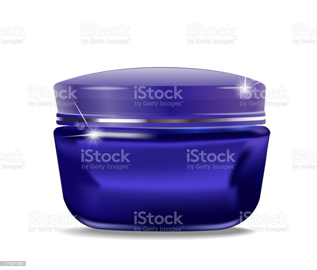 vector blue jar with cosmetic cream vector art illustration
