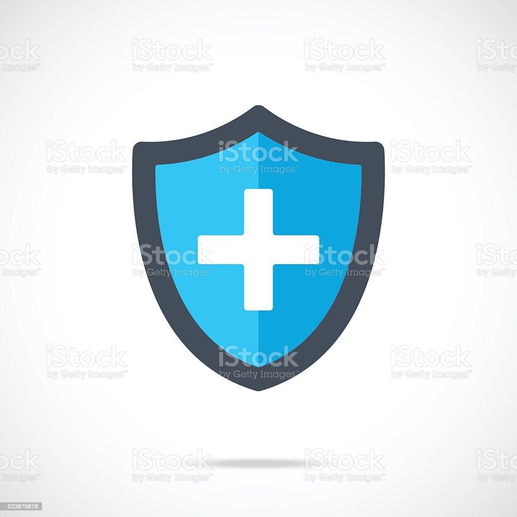 Vector blue medical shield icon. Modern flat design vector illustration vector art illustration