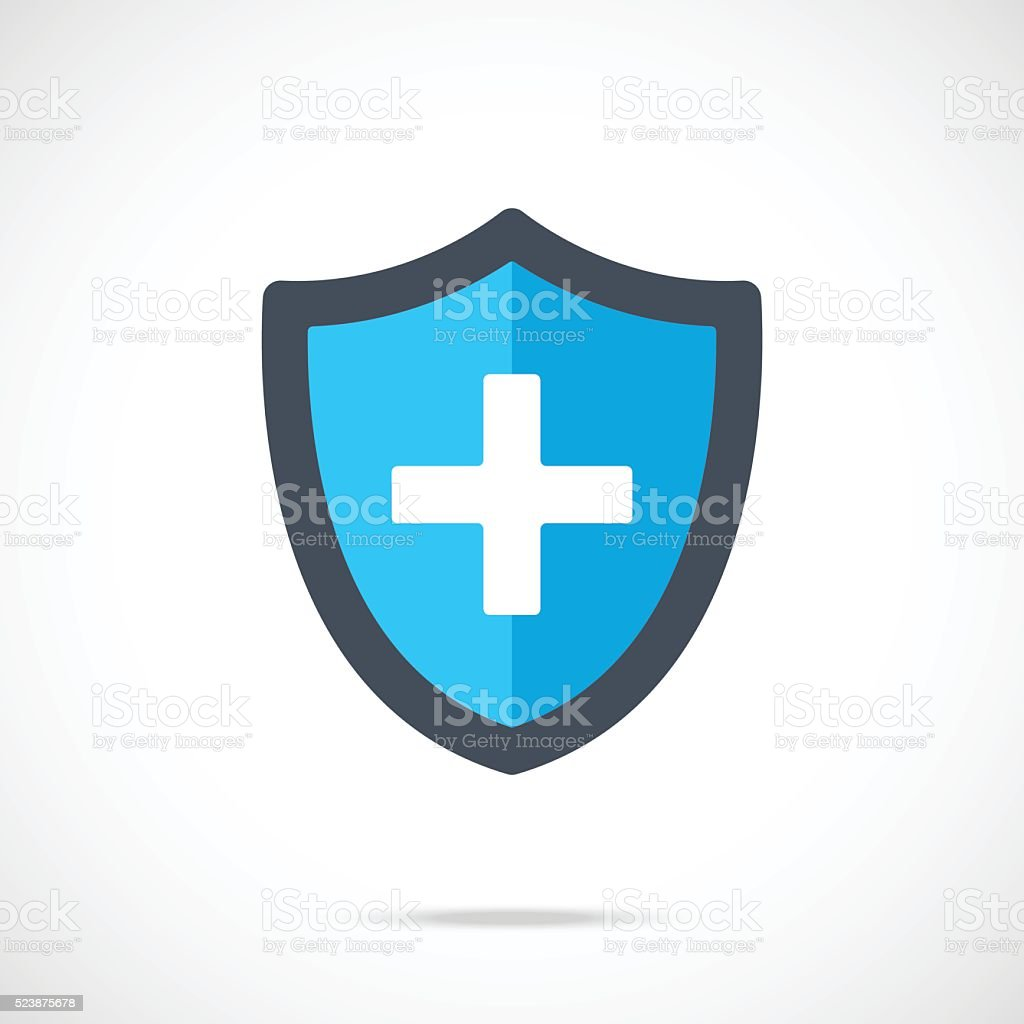 Vector blue medical shield icon. Modern flat design vector illustration vector art illustration