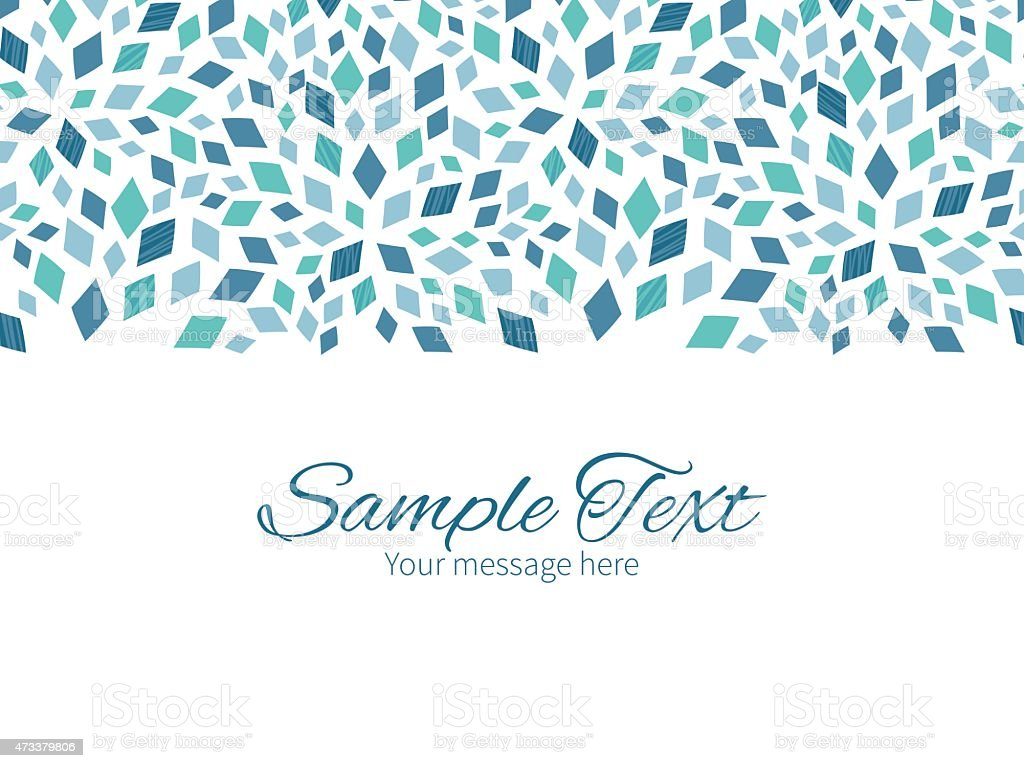 Vector blue mosaic texture horizontal border greeting card invitation template vector art illustration
