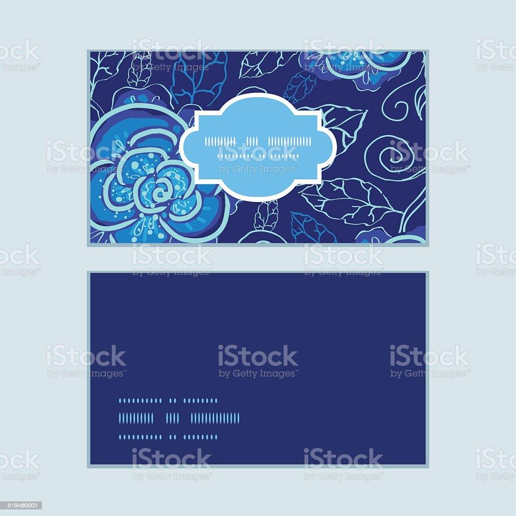 Vecteur Bleu Nuit Fleurs Horizontale De Cartes Visite Ensemble Motif Stock Libres Droits
