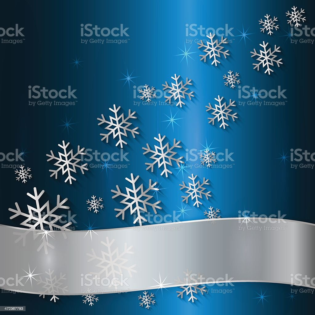 Vector Blue Plate with Snowflakes  and White Ribbon royalty-free stock vector art