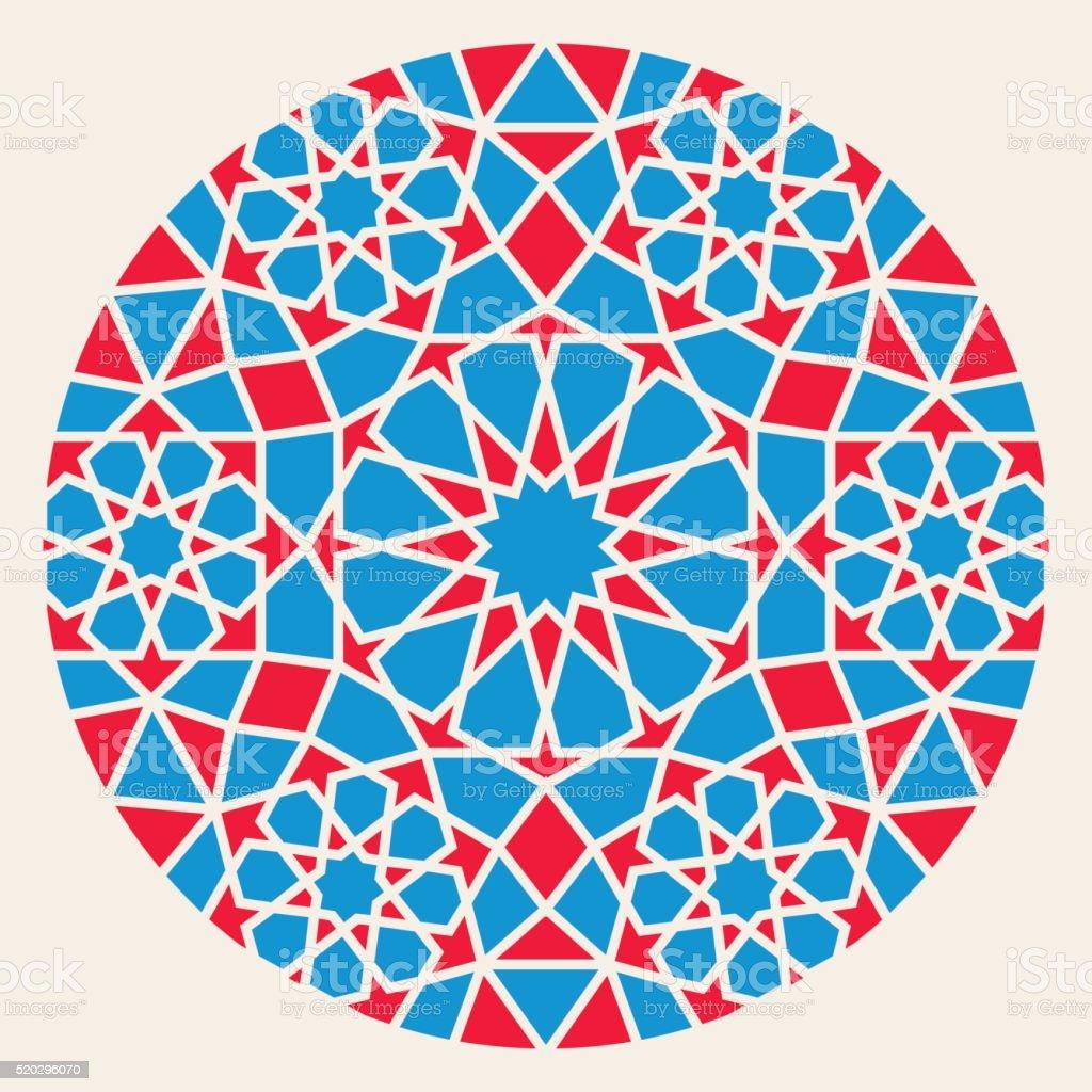 Vector Blue Red Islamic Ornamental Rosette Circle Design Element vector art illustration