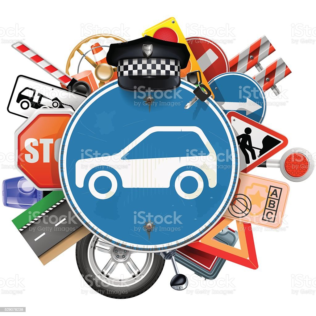 Vector Blue Road Sign with Car Parts vector art illustration