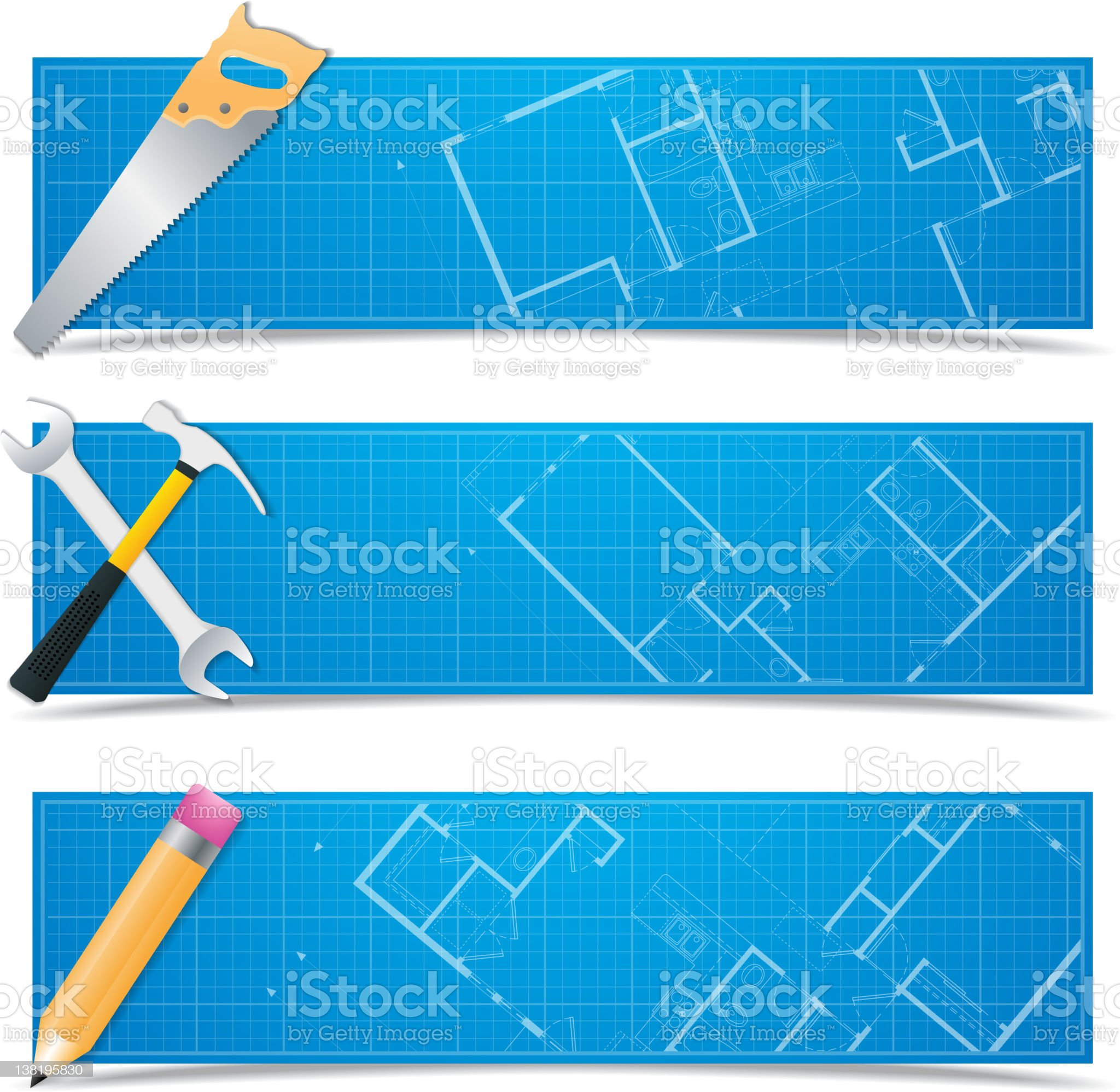 Vector blueprint banners royalty-free stock photo