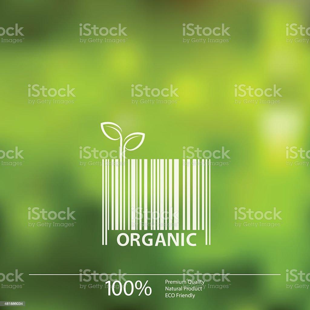 Vector desfocadas fundo de natureza ecológica de código de barras com rótulo do orgânico vetor e ilustração royalty-free royalty-free